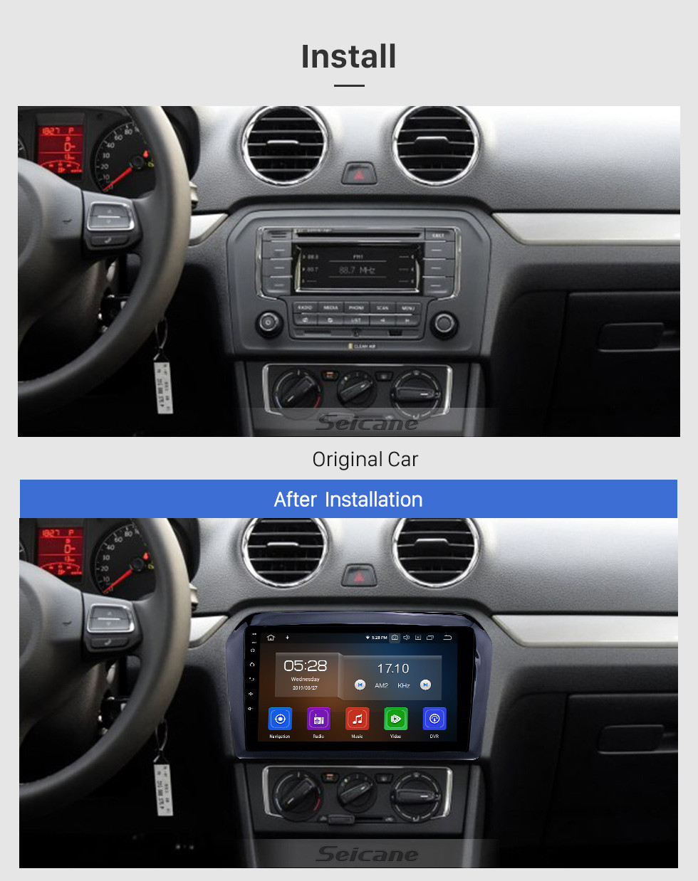 Seicane 2013-2017 VW Volkswagen Jetta Android 9.0 9 inch GPS Navigation Radio Bluetooth HD Touchscreen USB Carplay support Digital TV
