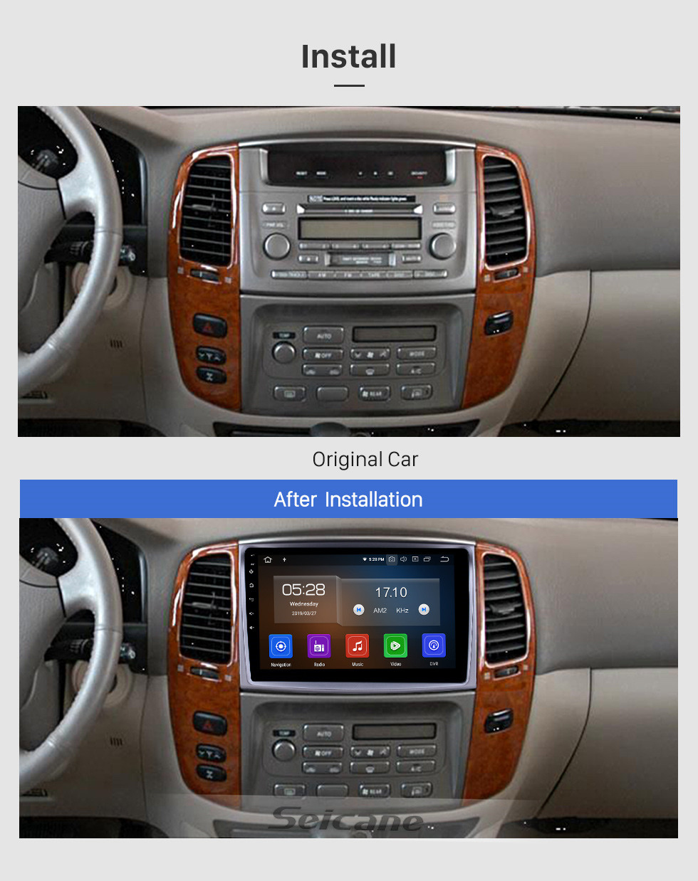 Seicane 10.1 inch 2006 Toyota Cruiser Android 9.0 GPS Navigation Radio Bluetooth HD Touchscreen AUX Carplay support Mirror Link