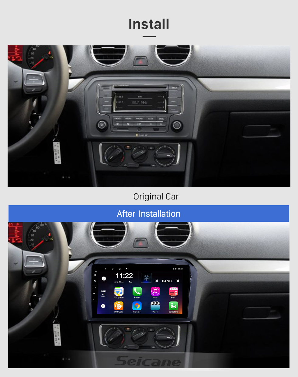 Seicane 2013-2017 VW Volkswagen Jetta Android 8.1 HD Touchscreen 9 inch Head Unit Bluetooth GPS Navigation Radio with AUX support SWC Carplay