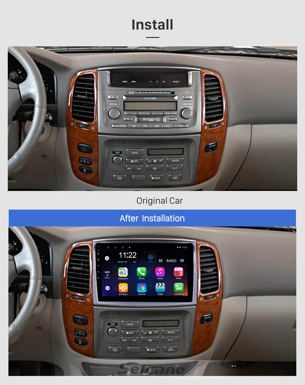 Seicane 10.1 inch Android 8.1 GPS Navigation Radio for 2006 Toyota Cruiser with HD Touchscreen Bluetooth USB support Carplay TPMS