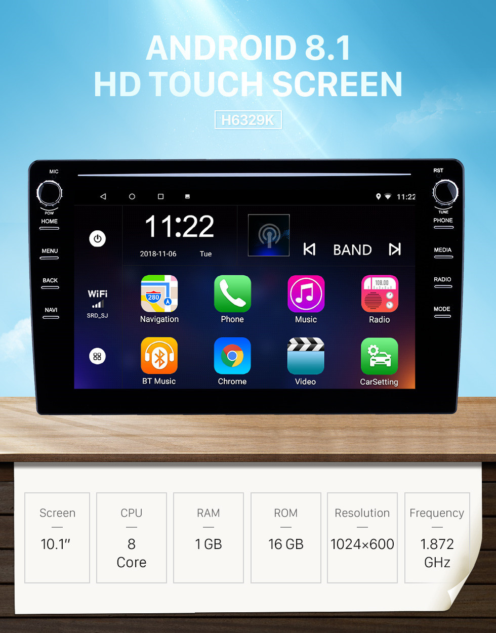 Seicane 10.1 inch Android 8.1 GPS Navigation Universal Radio with HD Touchscreen Bluetooth USB support Carplay TPMS Steering Wheel Control