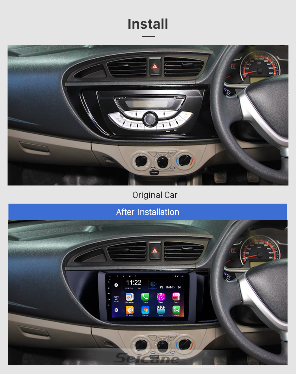Seicane Android 8.1 9 inch HD Touchscreen GPS Navigation Radio for 2015-2018 Suzuki Alto K10 with Bluetooth WIFI support Carplay SWC