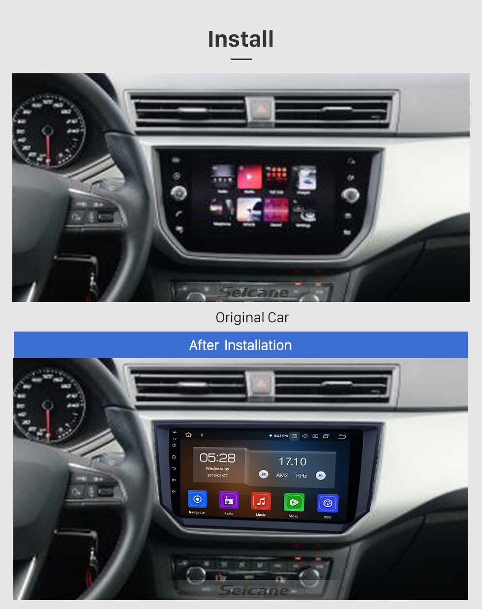 Seicane Écran tactile HD 2018 Seat Ibiza Android 9.0 9 pouces GPS Navigation Radio Bluetooth USB WIFI Support Carplay DAB + TPMS OBD2