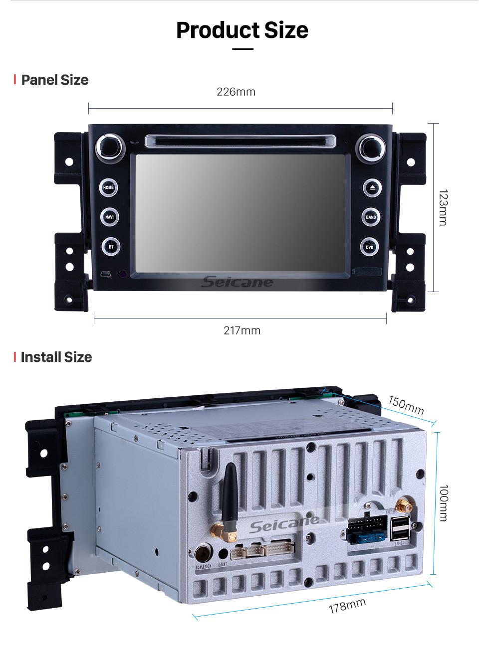 Seicane 7 Zoll Android 9.0 GPS Navigationsradio für 2006-2010 Suzuki Grand Vitara mit HD Touchscreen Carplay Bluetooth Unterstützung 1080P DVR