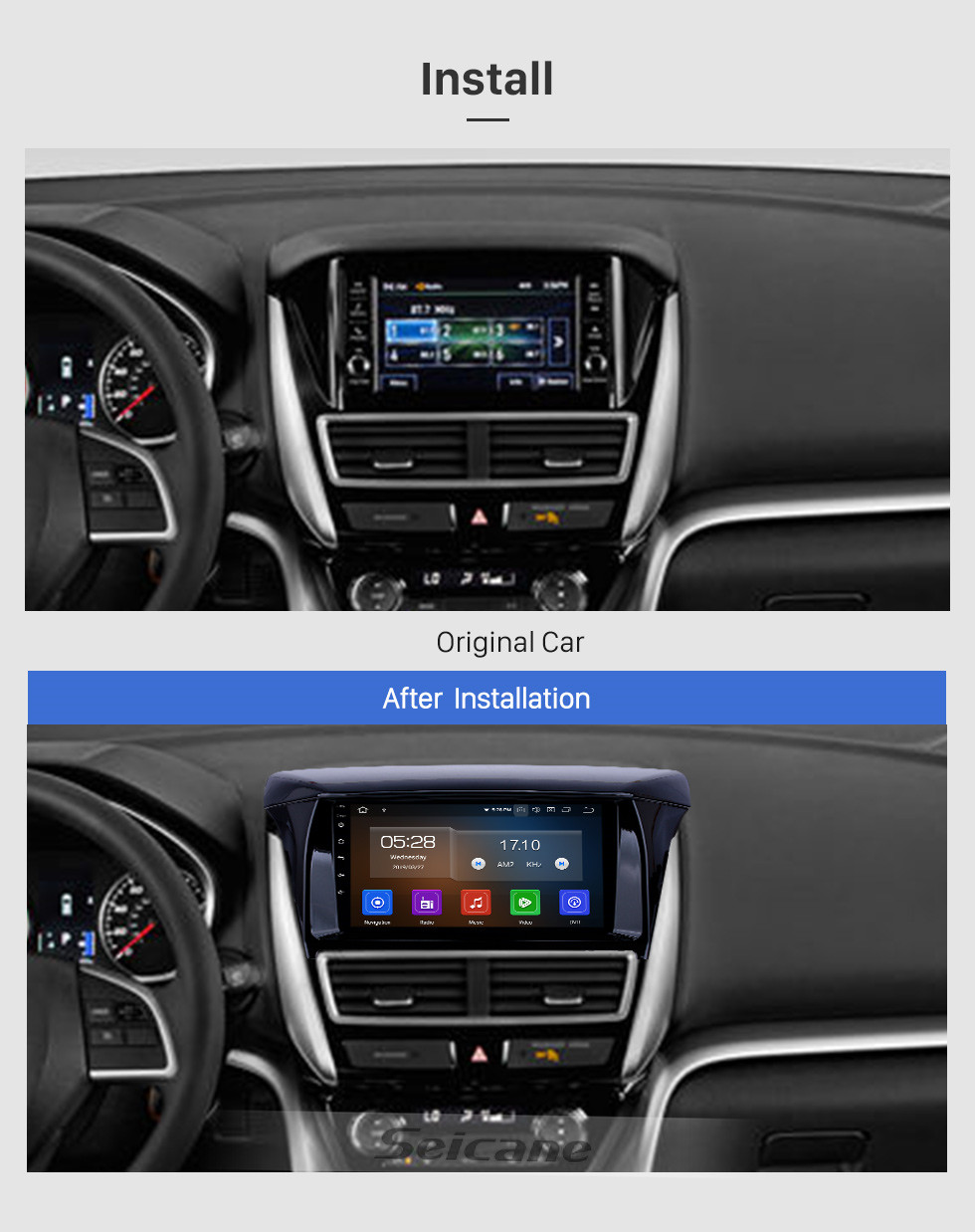 Seicane 2018 Mitsubishi Eclipse Android 9.0 9 Zoll GPS Navigationsradio Bluetooth HD Touchscreen USB Carplay Unterstützung Digital TV DAB +