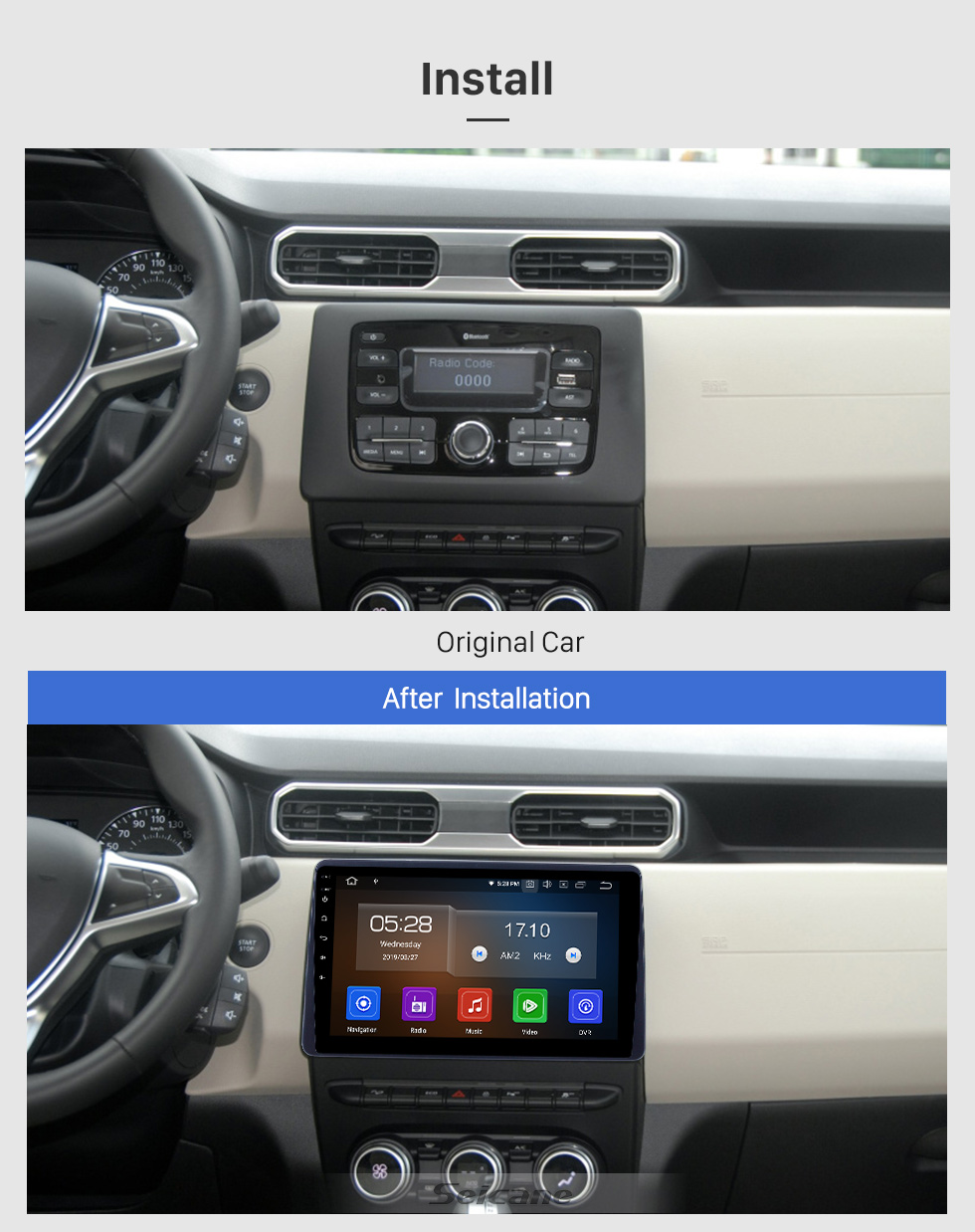 Seicane 10.1 inch Android 9.0 GPS Navigation Radio for 2018 Renault Duster Bluetooth HD Touchscreen AUX Carplay support Backup camera