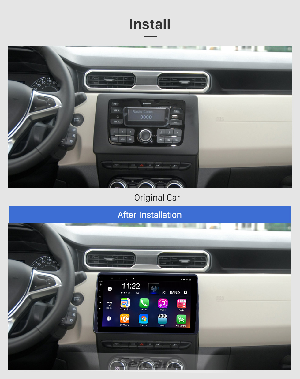Seicane 10,1 pouces Android 8.1 Radio de navigation GPS pour 2018 Renault Duster avec support tactile HD Bluetooth Prise en charge du contrôle de volant Carplay