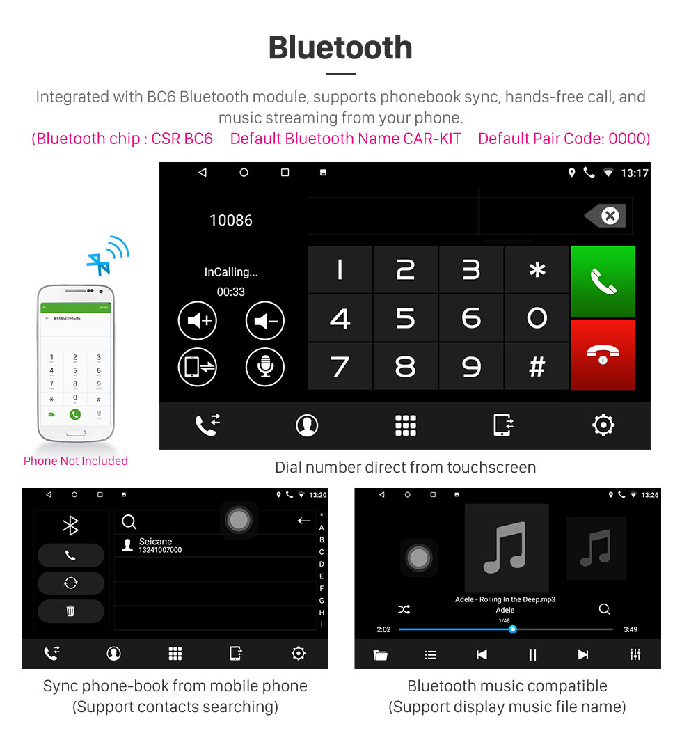 Seicane 10,1 pouces Android 8.1 Radio de navigation GPS pour 2006 Toyota B6 / 2008 Subaru DEX / 2005 Daihatsu WO avec écran tactile Bluetooth prend en charge Carplay TPMS
