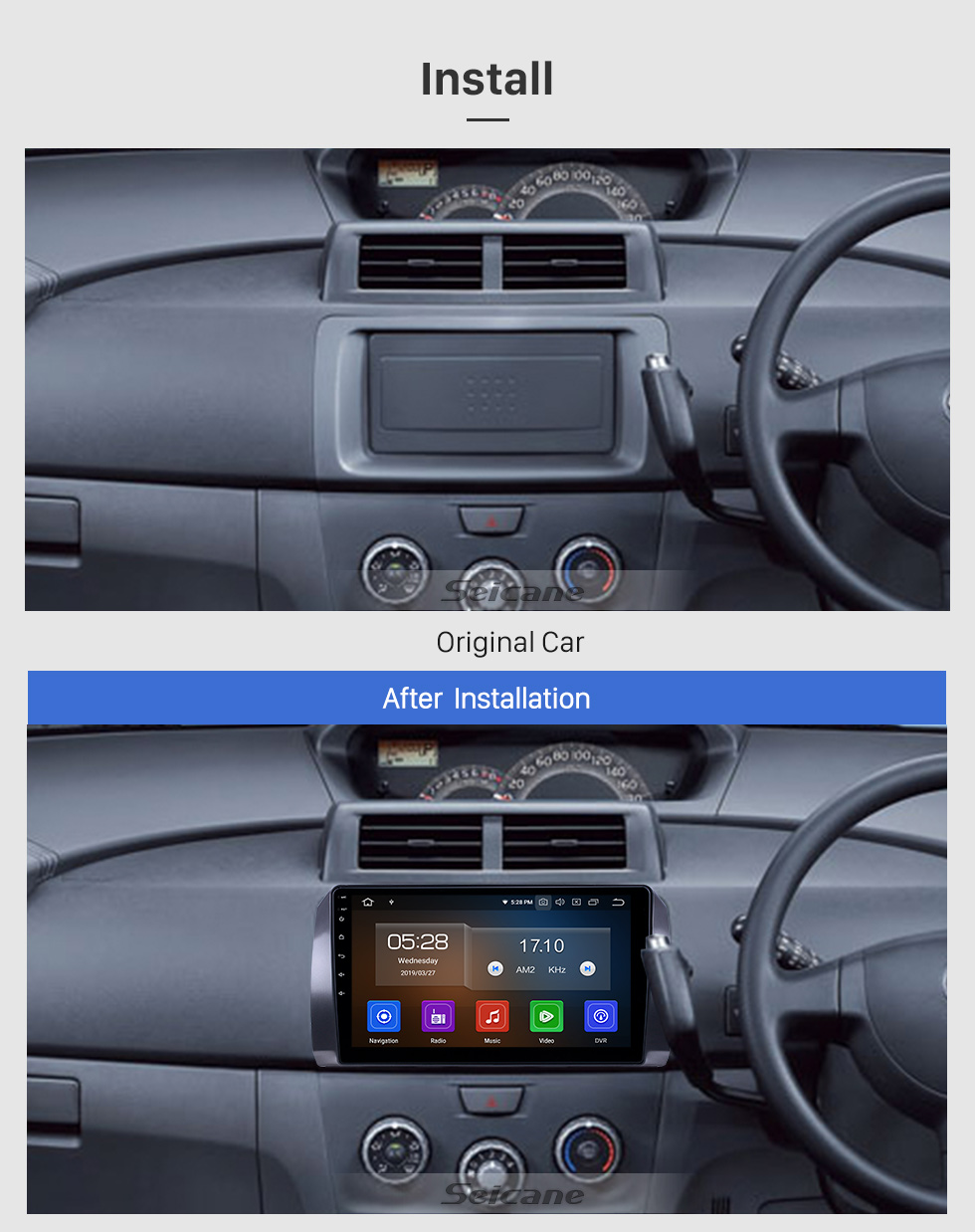 Seicane 10.1 inch Android 9.0 Radio for 2006 Toyota B6/2008 Subaru DEX/2005 Daihatsu WO Bluetooth Touchscreen GPS Navigation Carplay support SWC