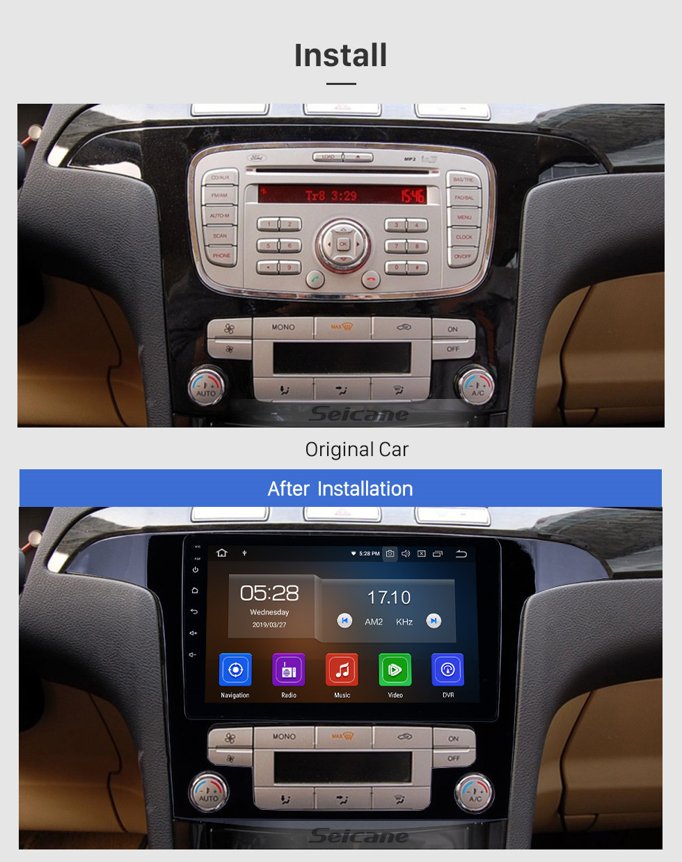 Seicane 2007-2008 Ford S-Max Auto A/C Android 9.0 9 inch GPS Navigation Radio Bluetooth HD Touchscreen USB Carplay support Digital TV