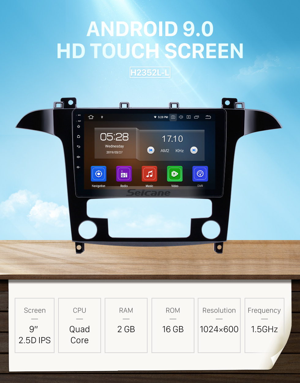 Seicane 9 inch Android 9.0 GPS Navigation Radio for 2007-2008 Ford S-Max Auto A/C with HD Touchscreen Carplay AUX Bluetooth support TPMS