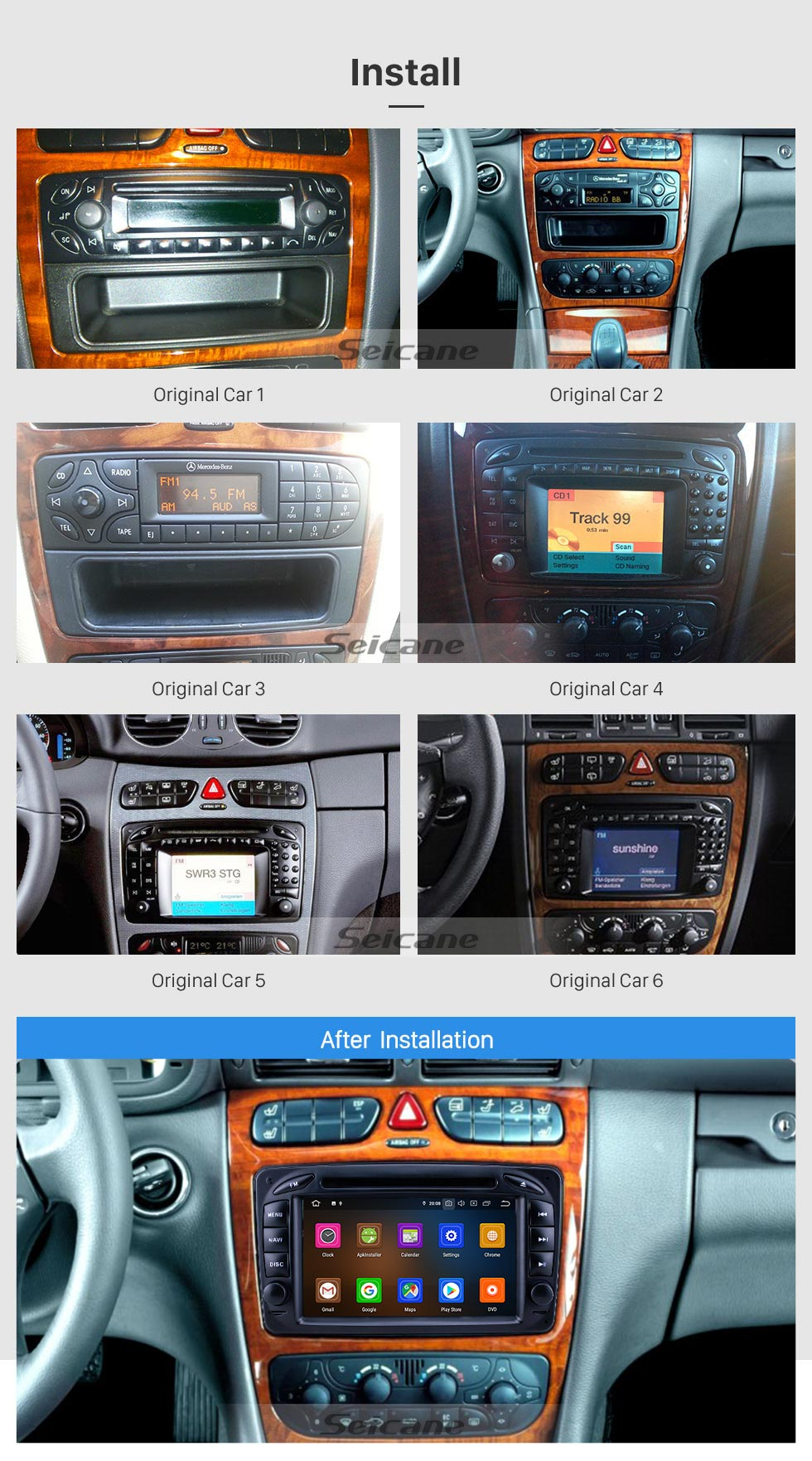 Seicane 7 inch Android 9.0 HD Touchscreen GPS Navigation Radio for 1998-2006 Mercedes Benz CLK-Class W209/G-Class W463 with Carplay Bluetooth support 1080P Video