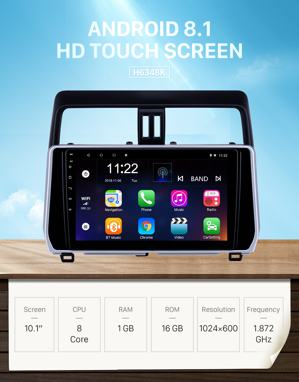 Seicane 10.1 inch Android 8.1 GPS Navigation Radio for 2018 Toyota Prado with HD Touchscreen Bluetooth support Carplay Steering Wheel Control