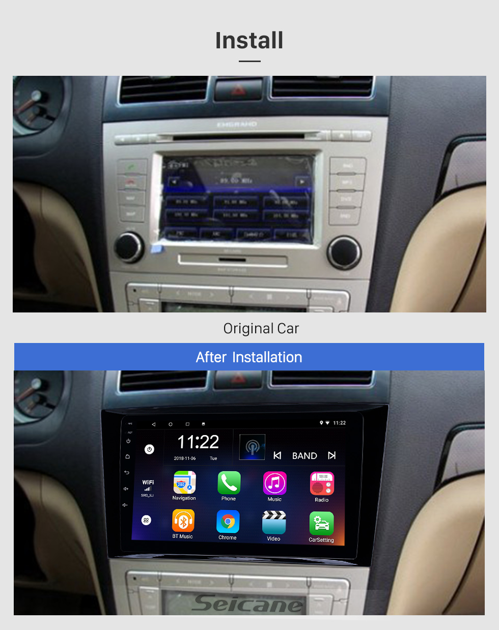 Seicane HD Touchscreen 9 inch Android 8.1 GPS Navigation Radio for 2009-2015 Geely Emgrand EC8 with Bluetooth AUX support Carplay TPMS