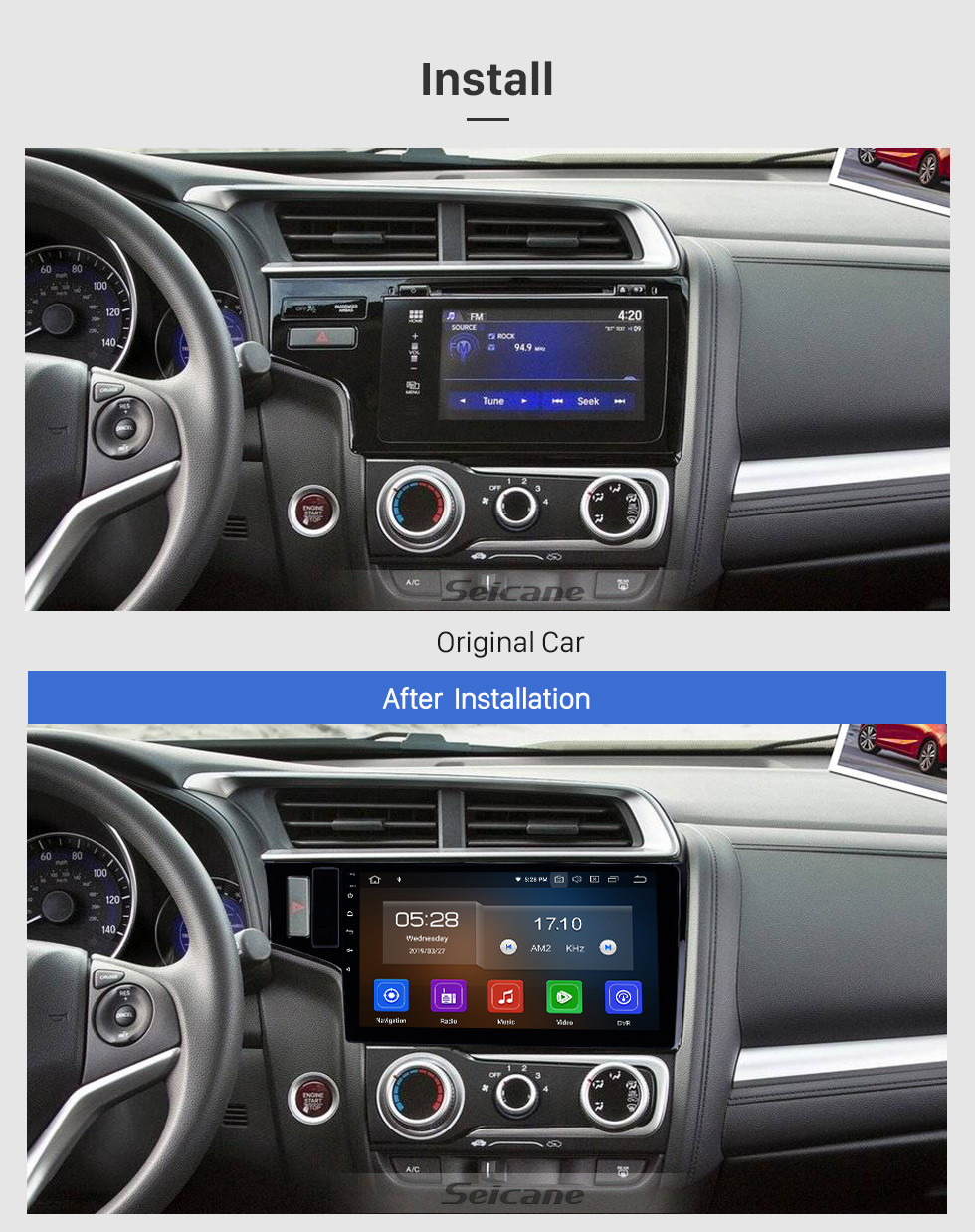 Seicane 10.1 inch 2013-2015 Honda Fit LHD Android 9.0 GPS Navigation Radio Bluetooth WIFI Touchscreen Carplay support DVR