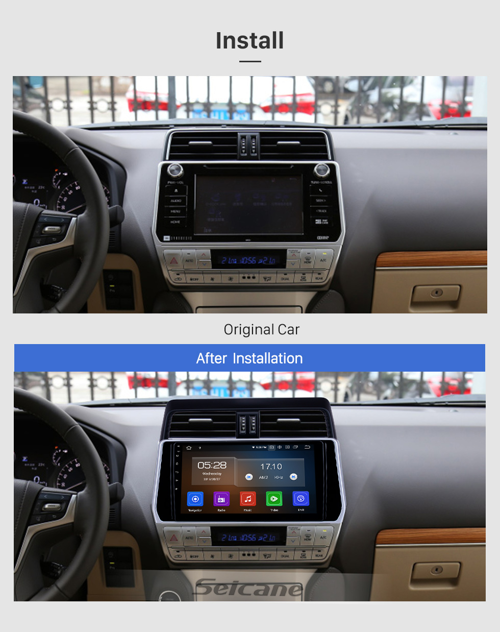 Seicane 10.1 inch Android 9.0 GPS Navigation Radio for 2018 Toyota Prado Bluetooth HD Touchscreen AUX Carplay support Backup camera
