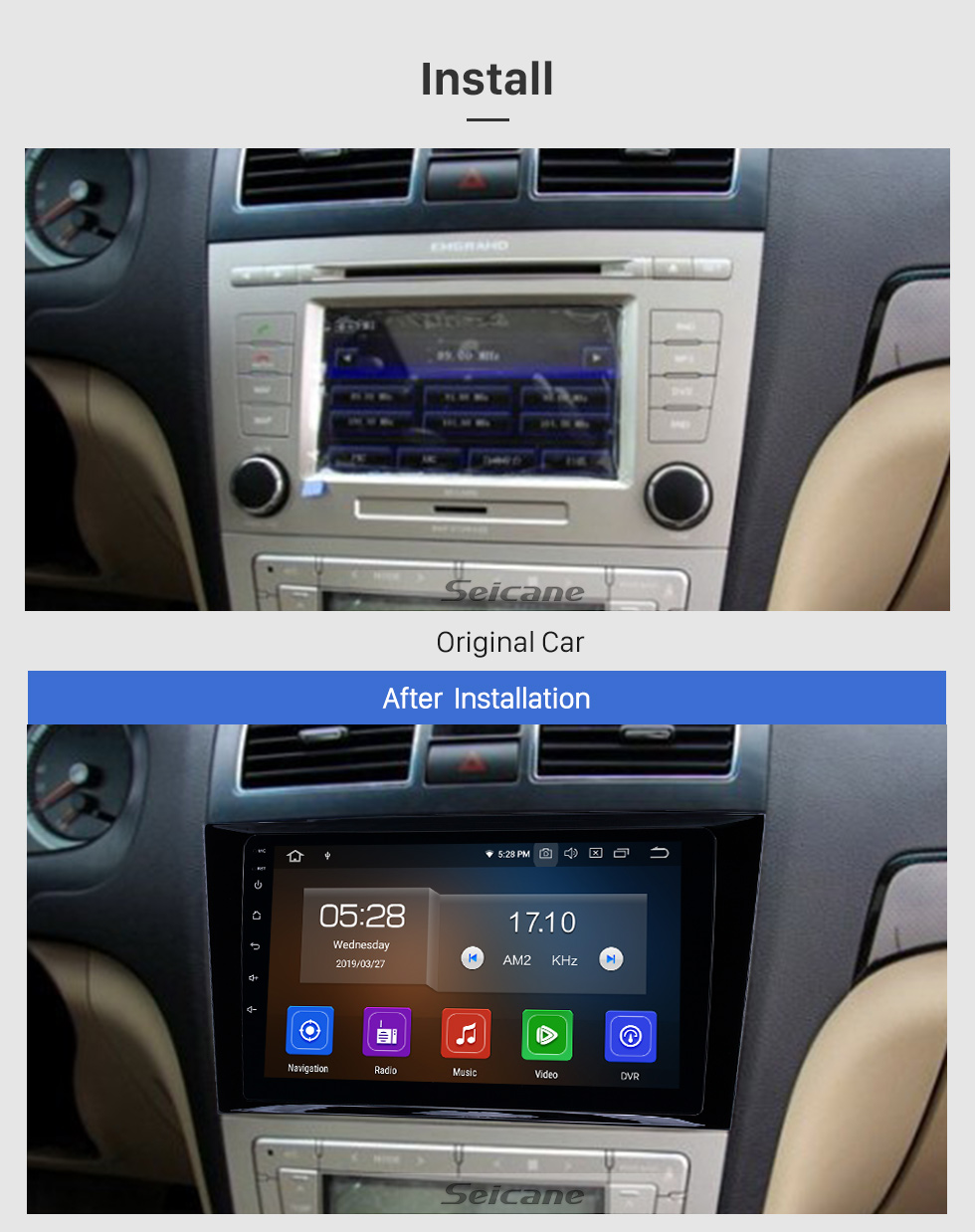 Seicane 2009-2015 Geely Emgrand EC8 Android 9.0 9-Zoll-GPS-Navigationsradio Bluetooth HD Touchscreen WIFI USB Carplay-Unterstützung Backup-Kamera