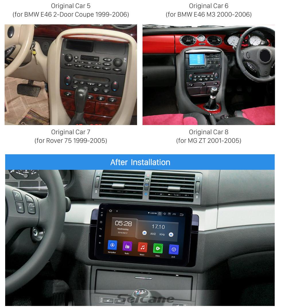 Seicane 8 Zoll Android 9.0 GPS Navigationsradio für 1998-2006 BMW 3er E46 M3 / 2001-2004 MG ZT / 1999-2004 Rover 75 mit HD Touchscreen Carplay Bluetooth Unterstützung SWC DVR