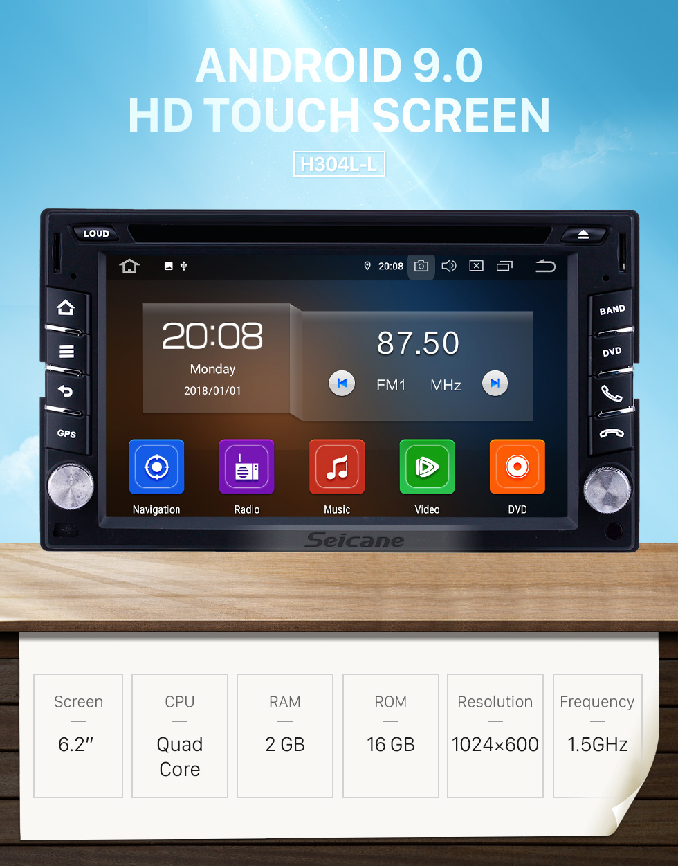 Seicane Universal 6.2 inch GPS Navigation Radio Android 9.0 Bluetooth HD Touchscreen AUX Carplay Music support 1080P Digital TV Rearview camera OBD2