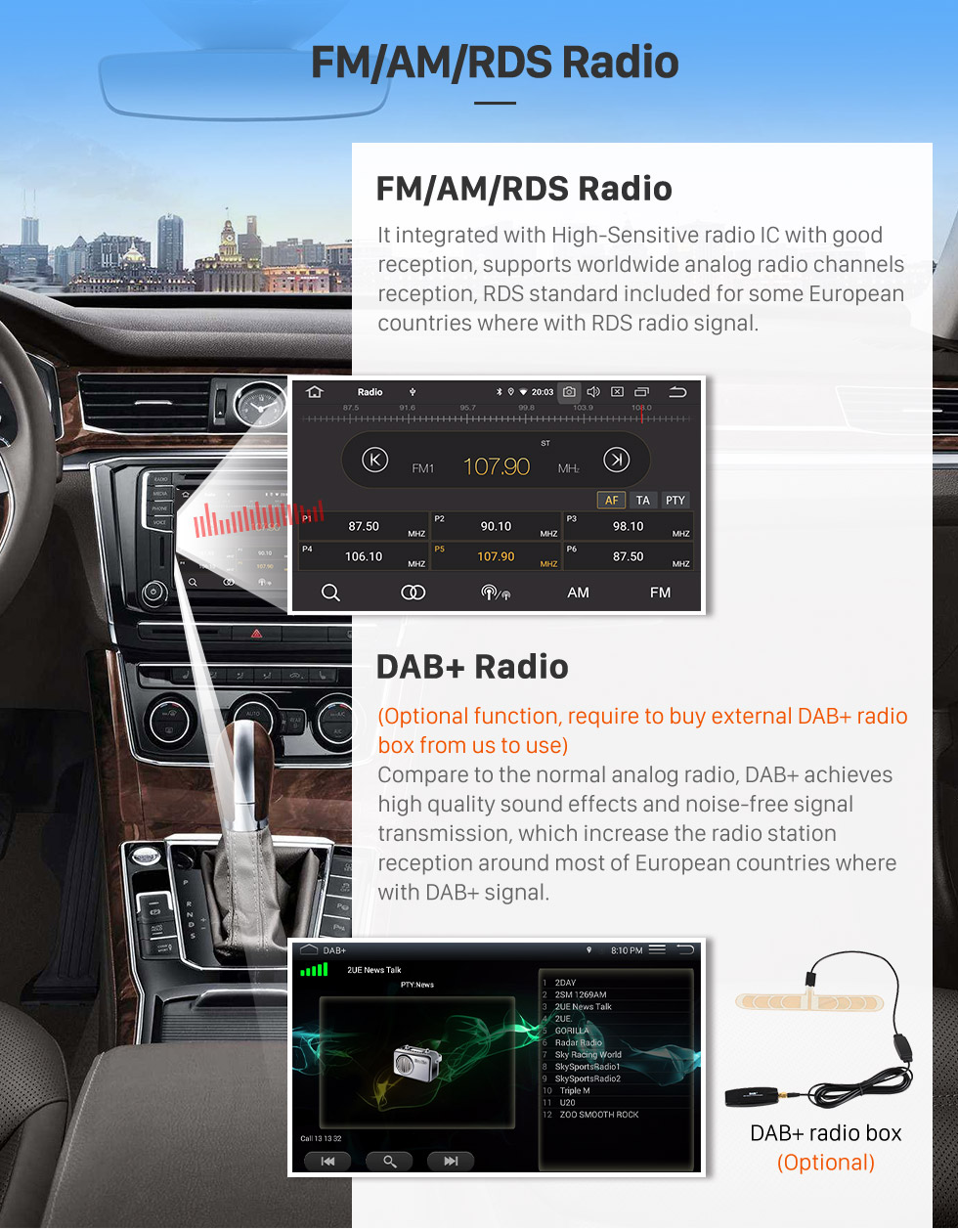 Seicane 6.2 inch GPS Navigation Universal Radio Android 9.0 Bluetooth HD Touchscreen AUX Carplay Music support 1080P Video TPMS Digital TV