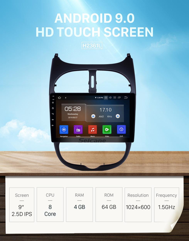 Seicane 2000-2016 Peugeot 206 Android 9.0 9-Zoll-GPS-Navigationsradio Bluetooth HD Touchscreen WIFI USB Carplay-Unterstützung Rückfahrkamera