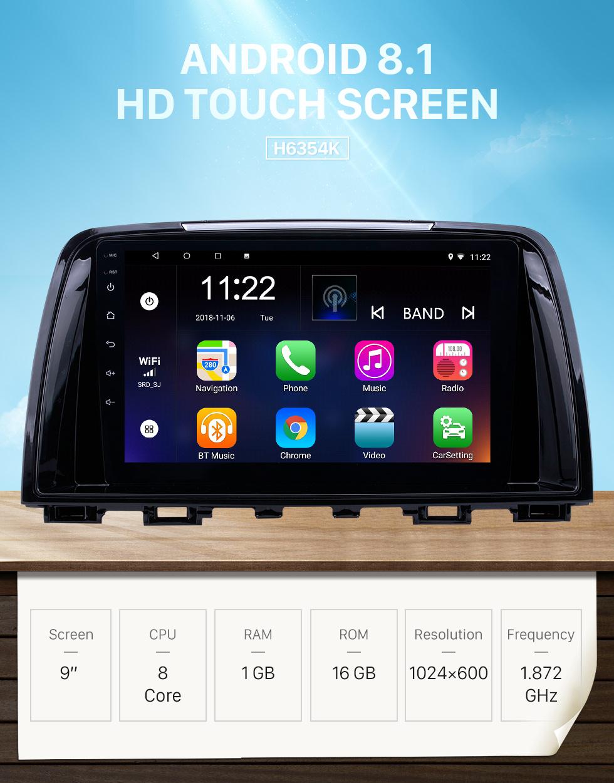 Seicane 2014-2016 Mazda Atenza Android 8.1 Pantalla táctil HD 9 pulgadas AUX Bluetooth WIFI USB Navegación GPS Radio soporte OBD2 SWC Carplay