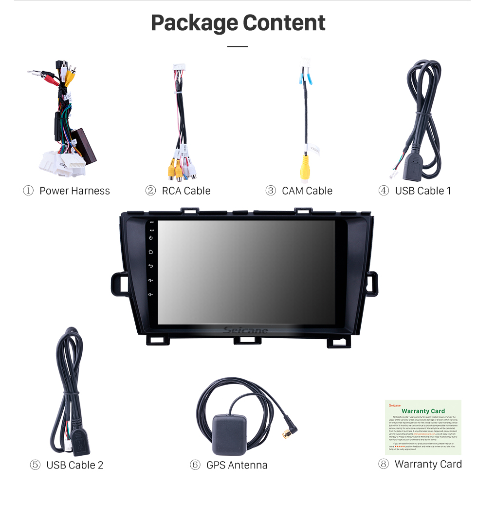 Seicane 2009-2013 Toyota Prius LHD Android 8.1 HD Touchscreen 9 inch AUX Bluetooth WIFI USB GPS Navigation Radio support SWC Carplay