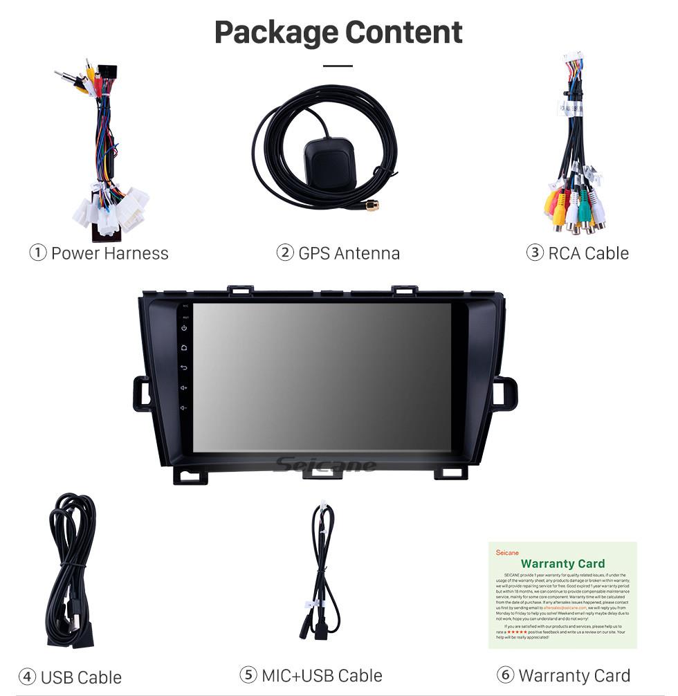 Seicane HD Touchscreen 2009-2013 Toyota Prius RHD Android 9.0 9 inch GPS Navigation Radio Bluetooth WIFI Carplay support DVR OBD2