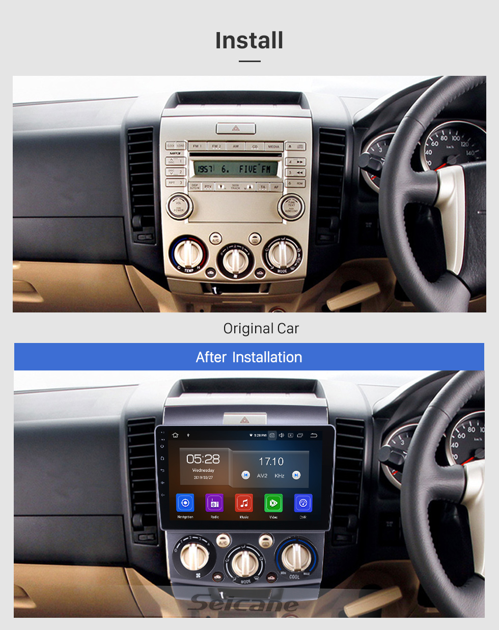 Seicane Android 9.0 Radio de navegación GPS de 9 pulgadas para Ford Everest / Ranger Mazda BT-50 2006-2010 con pantalla táctil HD Carplay Soporte Bluetooth Bluetooth TV digital