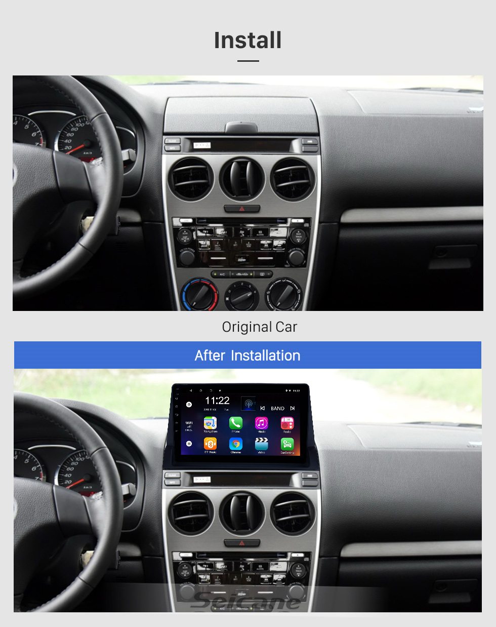 Seicane 10.1 inch Android 8.1 GPS Navigation Radio for 2002-2008 Old Mazda 6 with HD Touchscreen Bluetooth support Carplay Steering Wheel Control
