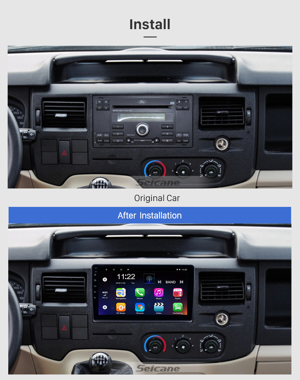 Seicane 10,1 Zoll Android 9.0 Radio für 2009-2019 Ford New Transit Bluetooth WIFI HD Touchscreen GPS-Navigation Carplay USB-Unterstützung TPMS DAB +