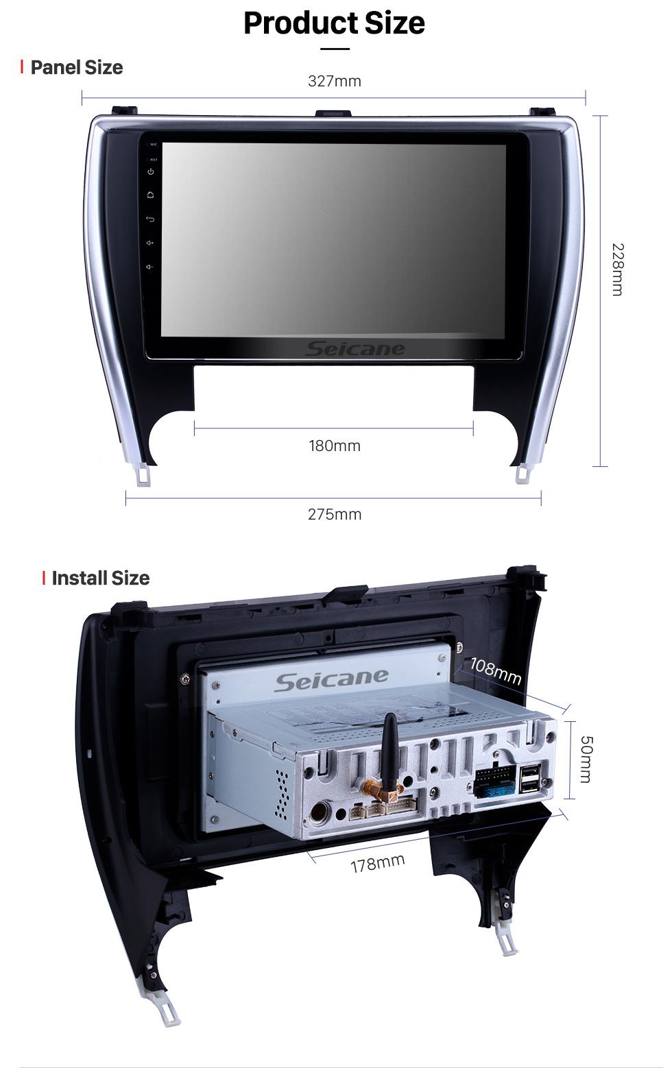 Seicane 10,1 Zoll Android 9.0 GPS-Navigationsradio für 2015 Toyota Camry (Amerika-Version) Bluetooth HD Touchscreen Carplay-Unterstützung Rückfahrkamera