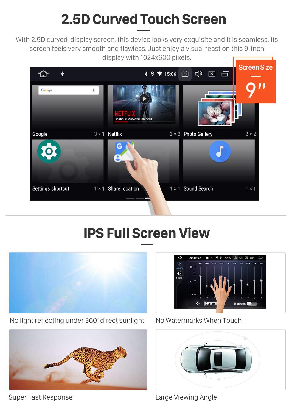Seicane Android 9.0 9 Zoll GPS Navigationsradio für 2010 Fiat Stilo mit HD Touchscreen Carplay Bluetooth Mirror Link Unterstützung TPMS Digital TV