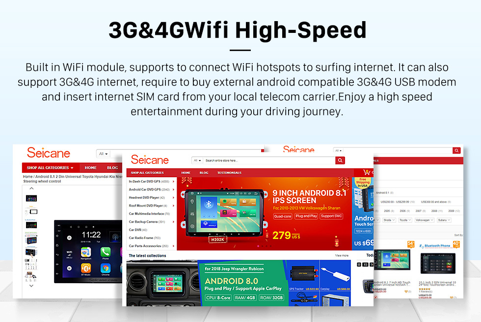 Seicane 10,1 дюйма 2012-2013 Geely Emgrand EC7 Android 9.0 GPS-навигация Радио Bluetooth HD Сенсорный экран Поддержка Carplay Mirror Link