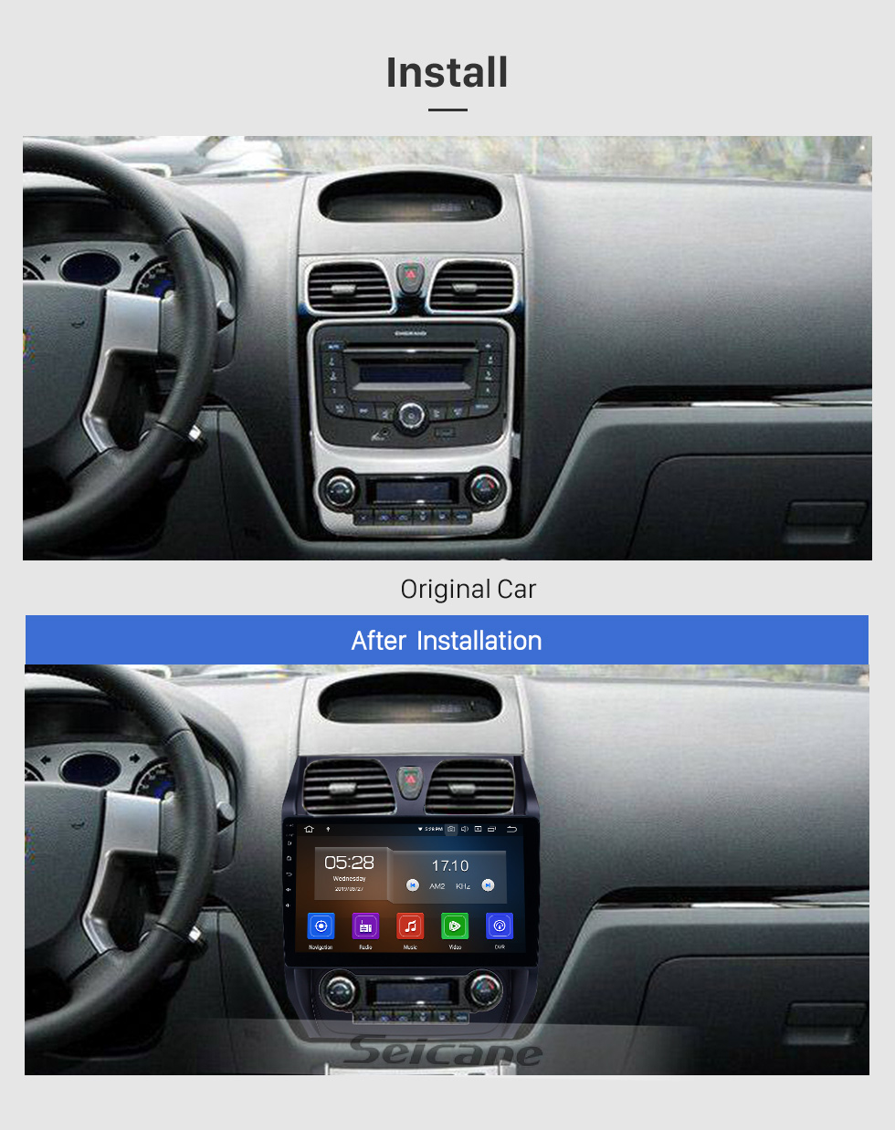 Seicane 10,1 pouces 2012-2013 Geely Emgrand EC7 Android 9.0 Radio de navigation GPS Bluetooth HD écran tactile support Carplay Miroir Lien