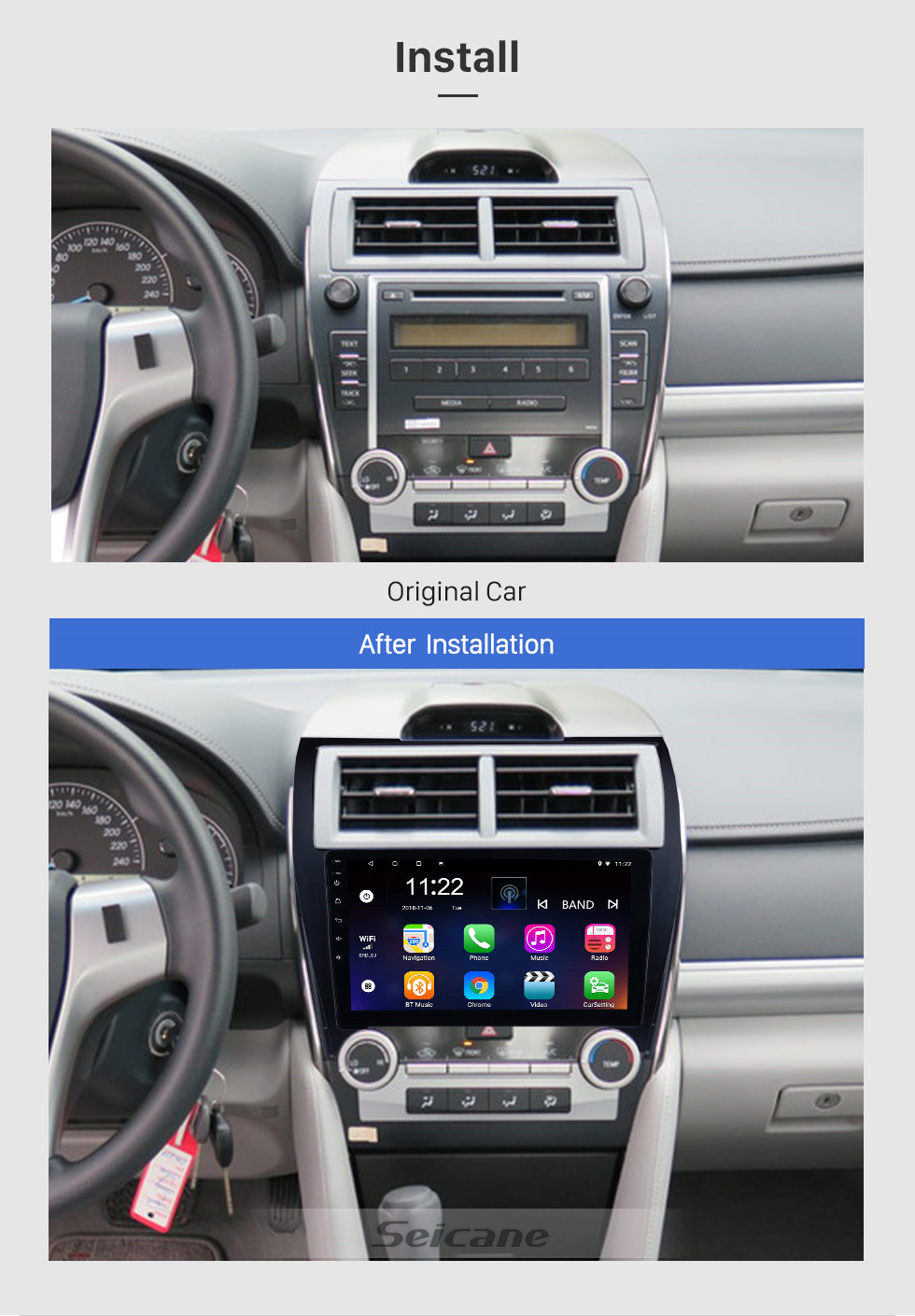 Seicane 10.1 Inch Android 9.0 HD Touchscreen For 2012 2013 2014-2017 TOYOTA CAMRY GPS Navigation System Radio with Bluetooth WIFI Support OBD2 DAB+ Backup camera Carplay