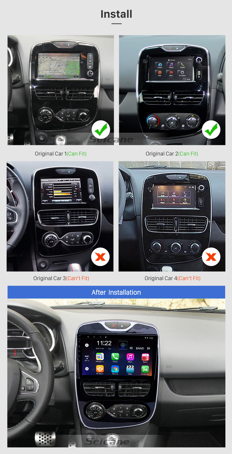 Seicane 10.1 inch Android 8.1 GPS Navigation Radio for 2012-2016 Renault Clio Digital/Analog With HD Touchscreen Bluetooth support Carplay OBD2