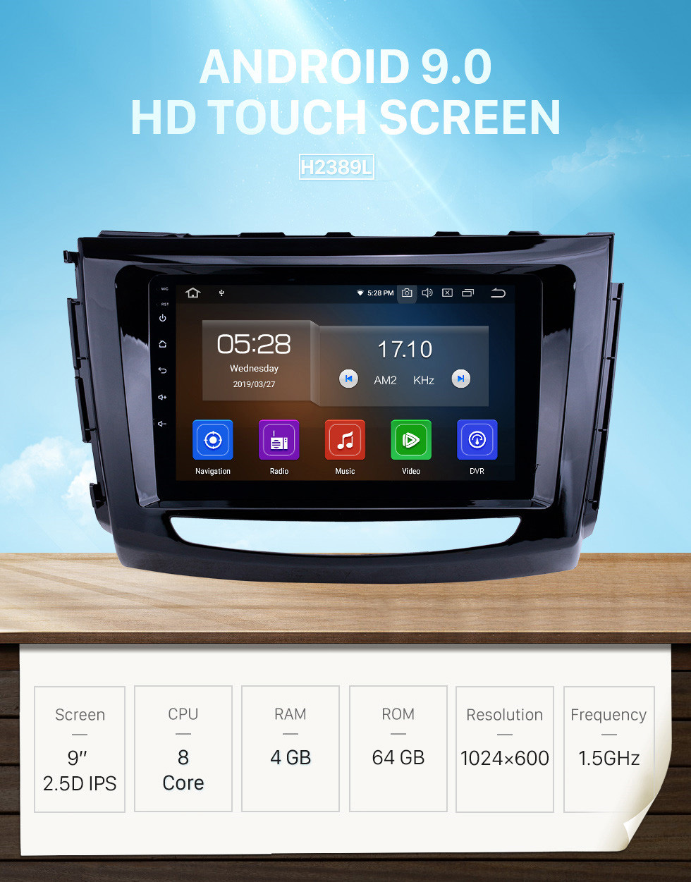 Seicane Écran tactile HD 2012-2016 Grande Muraille Wingle 6 RHD Android 9.0 9 pouces Navigation GPS Radio AUX support Carplay DAB + OBD2