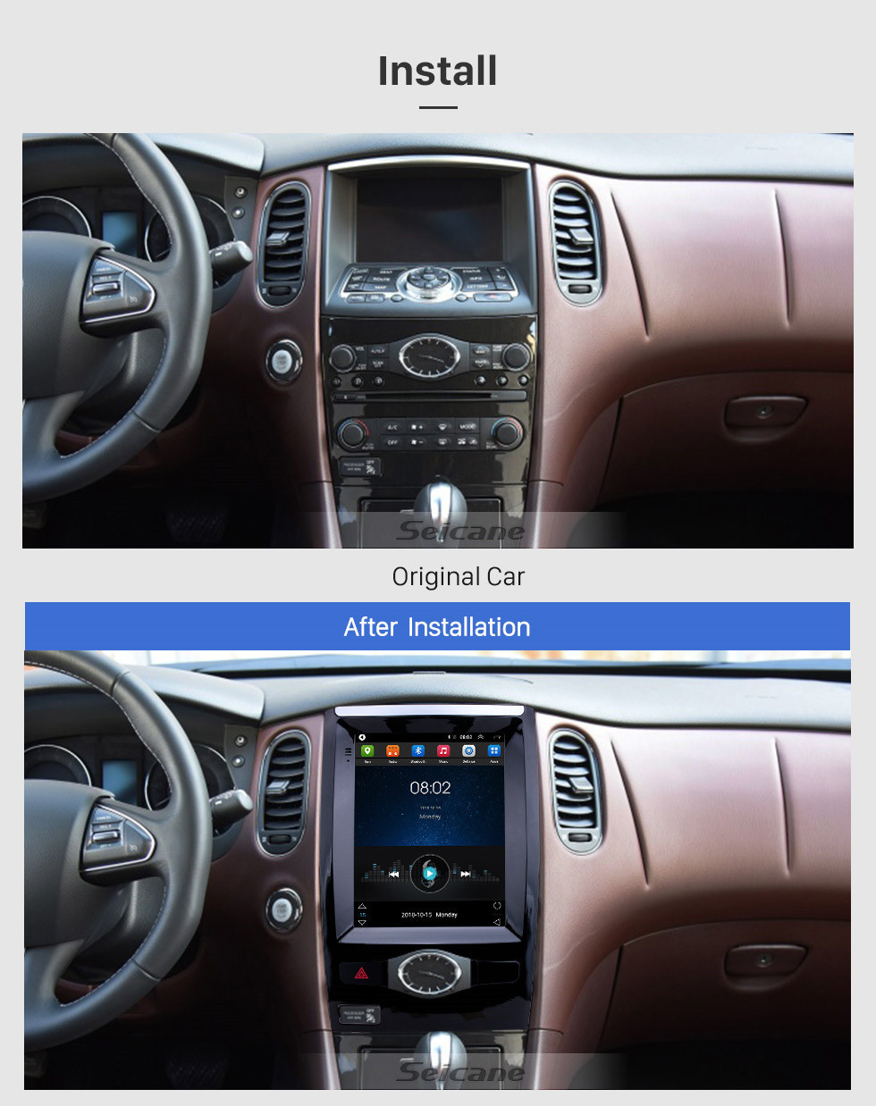 Seicane 2013-2017 Nissan Infiniti QX50 9.7 inch Android 9.1 GPS Navigation Radio with HD Touchscreen Bluetooth WIFI support Carplay Rear camera