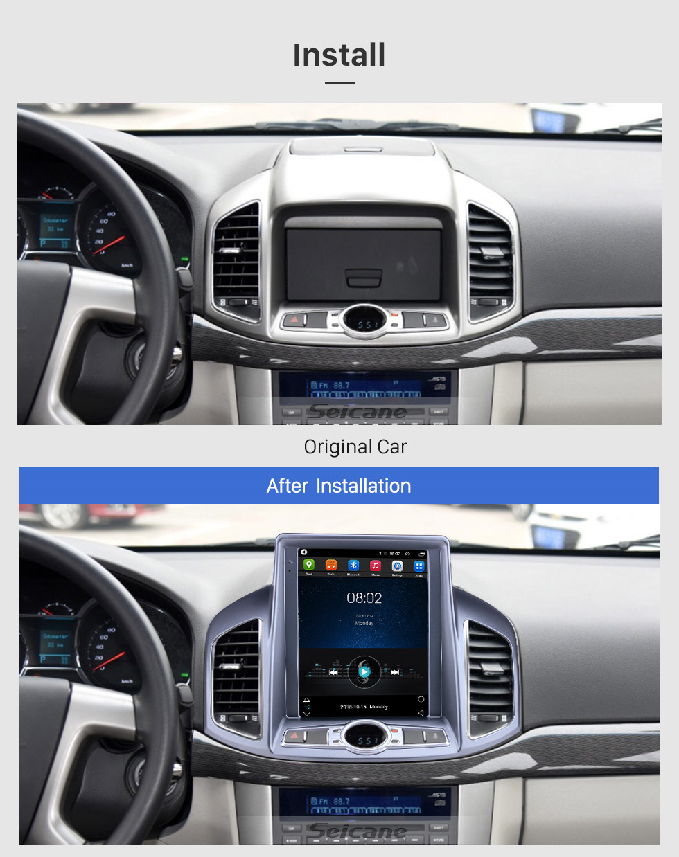 Seicane 9,7 pouces Android 9.1 2012-2017 Chevy Chevrolet Captiva Radio de navigation GPS avec écran tactile HD prend en charge Bluetooth Carplay Mirror Link