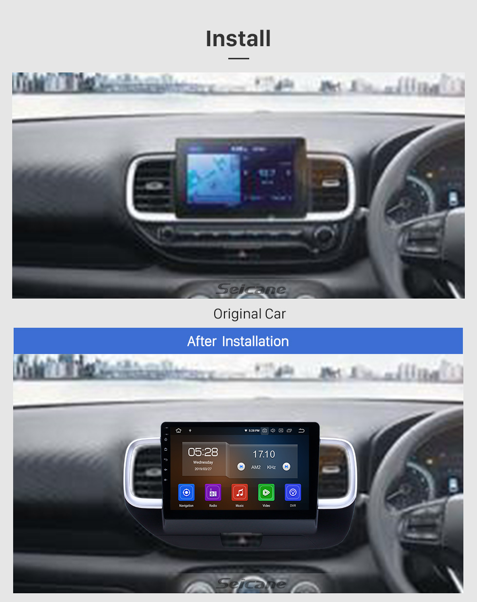 Seicane 10.1 pulgadas 2019 Hyundai Venue RHD Android 9.0 Radio de navegación GPS Bluetooth HD Pantalla táctil Carplay support Mirror Link