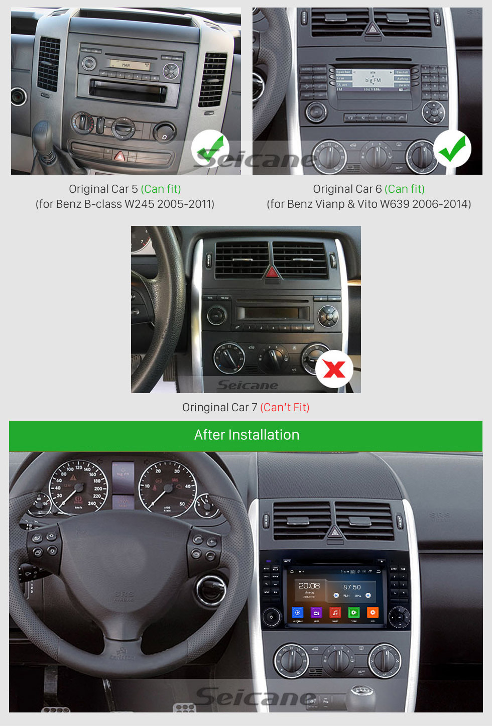 Seicane HD Touchscreen 7 inch Android 9.0 GPS Navigation Radio for 2006-2012 Mercedes Benz Viano Vito Bluetooth Carplay USB AUX support DVR Backup camera