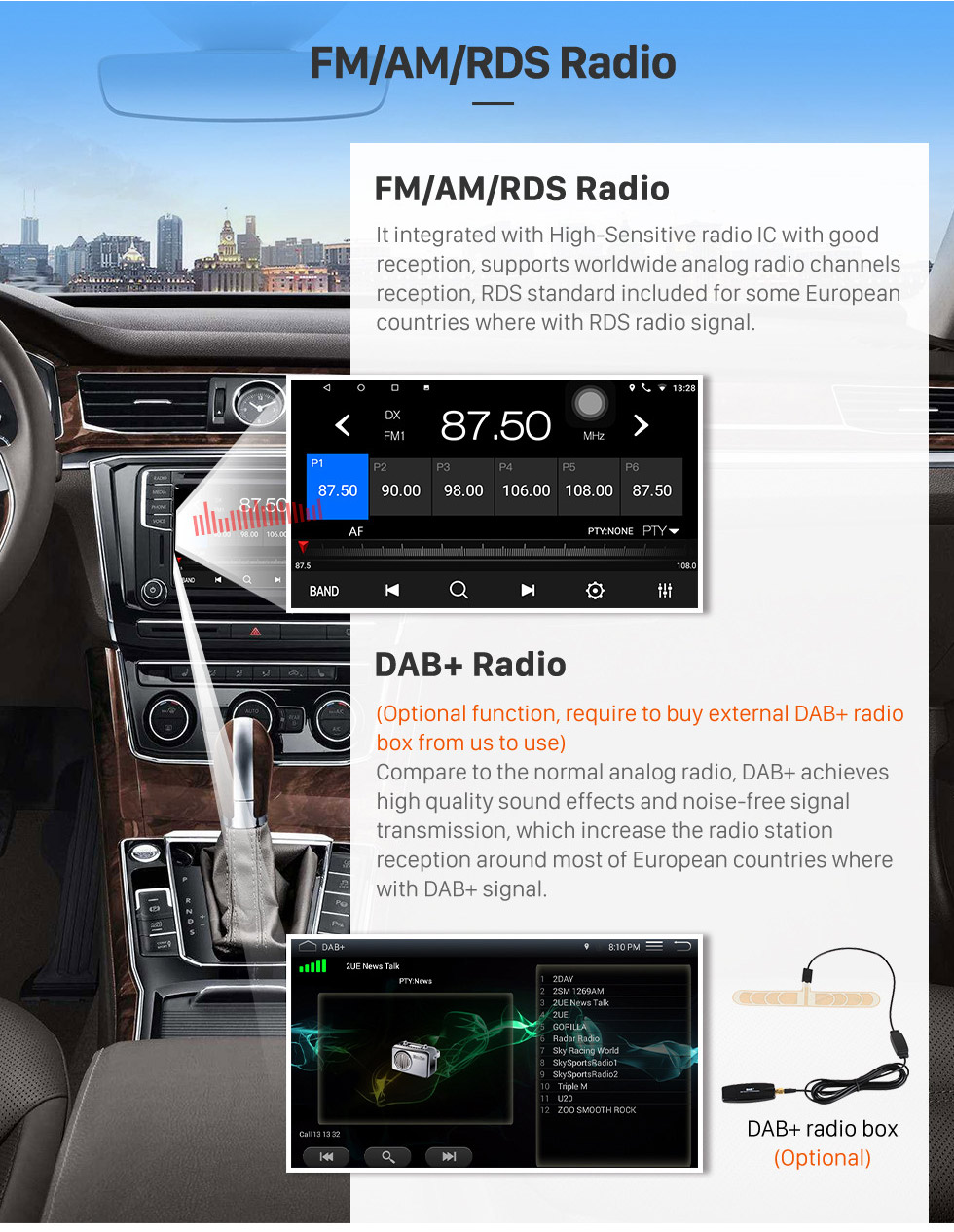 Seicane 10,1 pouces Android 8.1 Radio de navigation GPS pour 2006-2010 VW Volkswagen Sagitar Avec HD écran tactile Bluetooth prend en charge Carplay TPMS