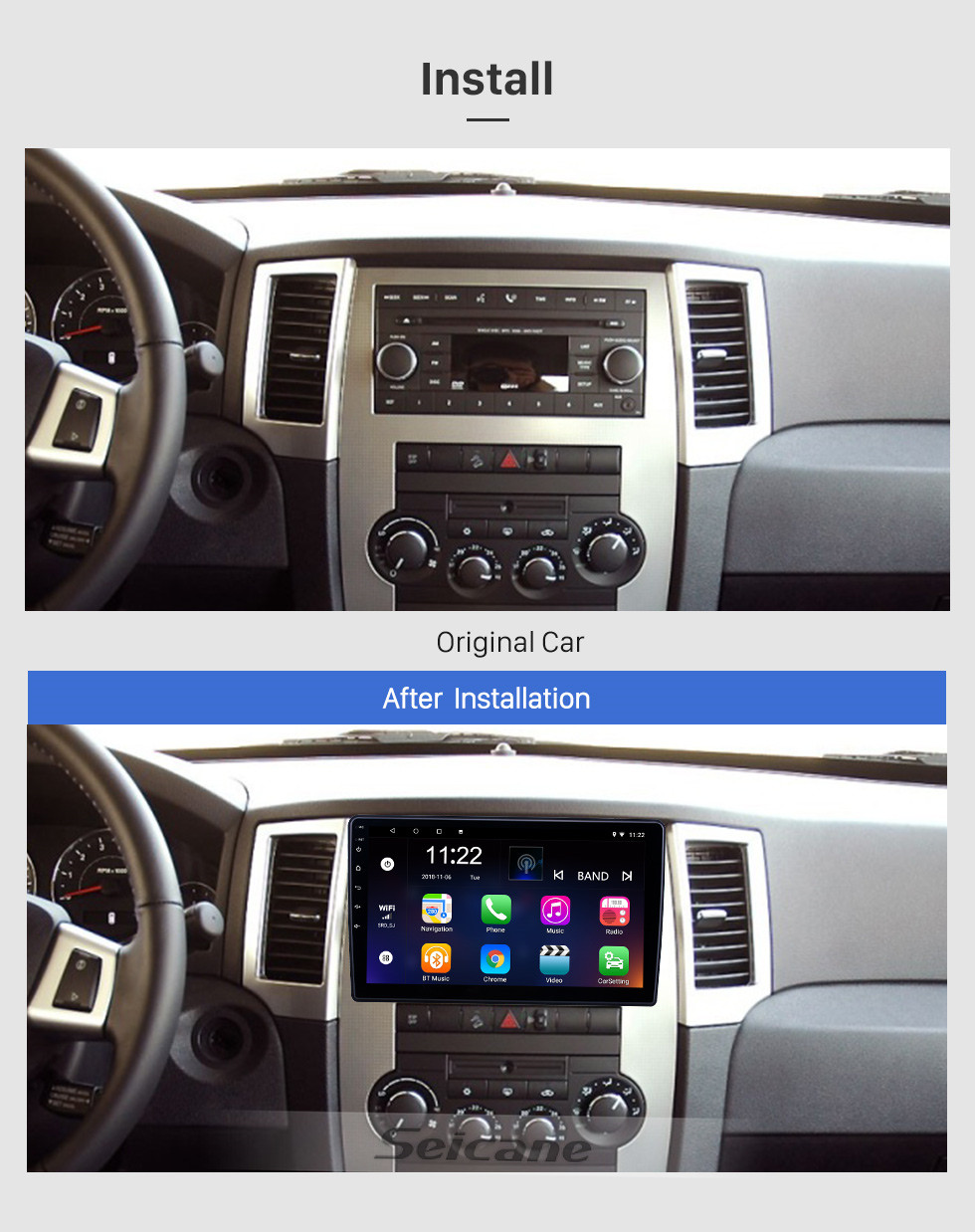 Seicane 10.1 inch HD Touchscreen Android 8.1 GPS Navigation Radio for Dodge/Jeep/Chrysler Universal With Bluetooth support Carplay DVR