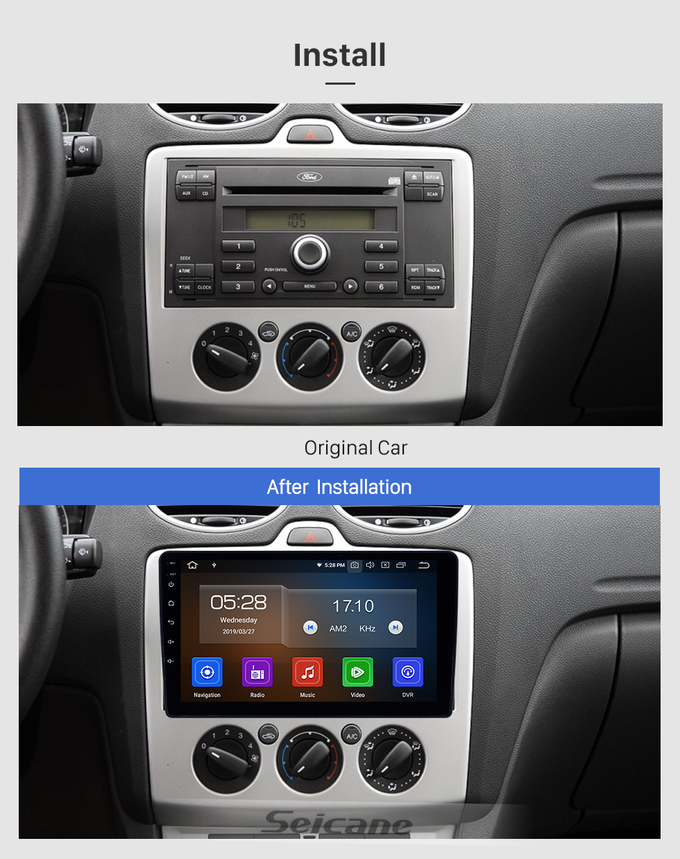 Seicane 2005-2008 Ford Focus Android 8.1 HD Touchscreen 9 Zoll AUX Bluetooth WIFI USB GPS Navigationsradio Unterstützung DVR Carplay