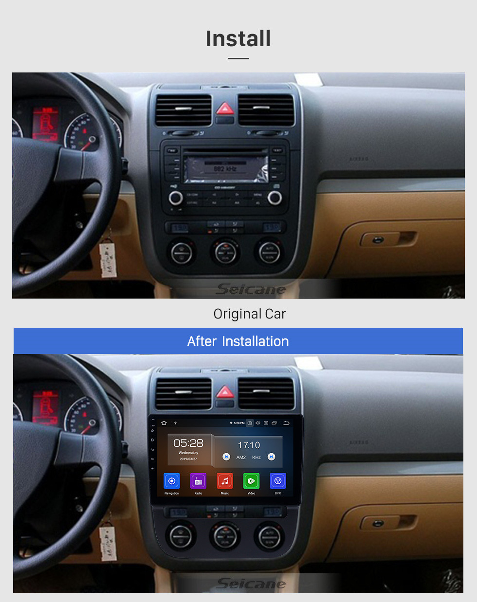 Seicane 10,1 pouces Android 9.0 Radio de navigation GPS pour 2006-2010 VW Volkswagen Sagitar avec support tactile Carplay Bluetooth HD 1080p