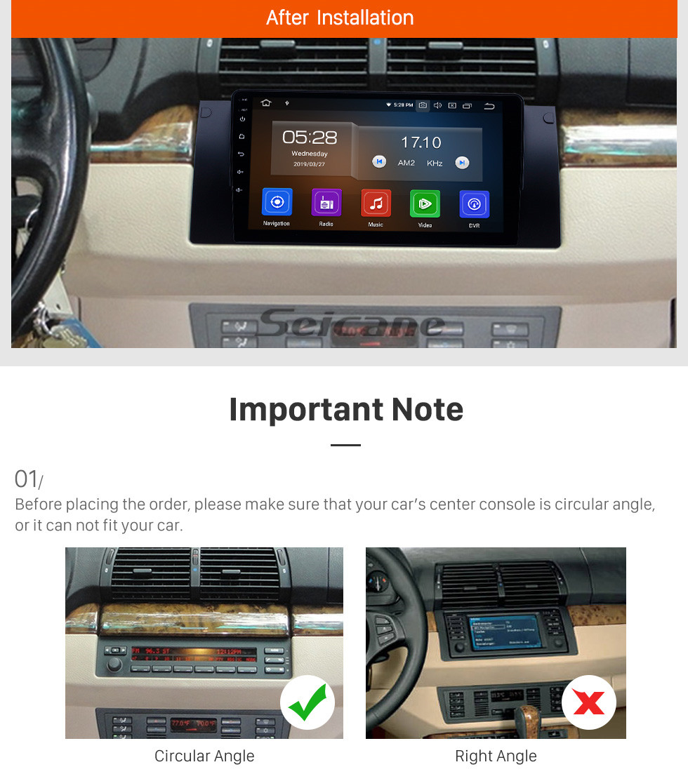 Seicane 1995-2003 BMW 5 Series E39/X5 E53 Android 9.0 9 inch GPS Navigation Radio HD Touchscreen Bluetooth Carplay support DAB+ SWC