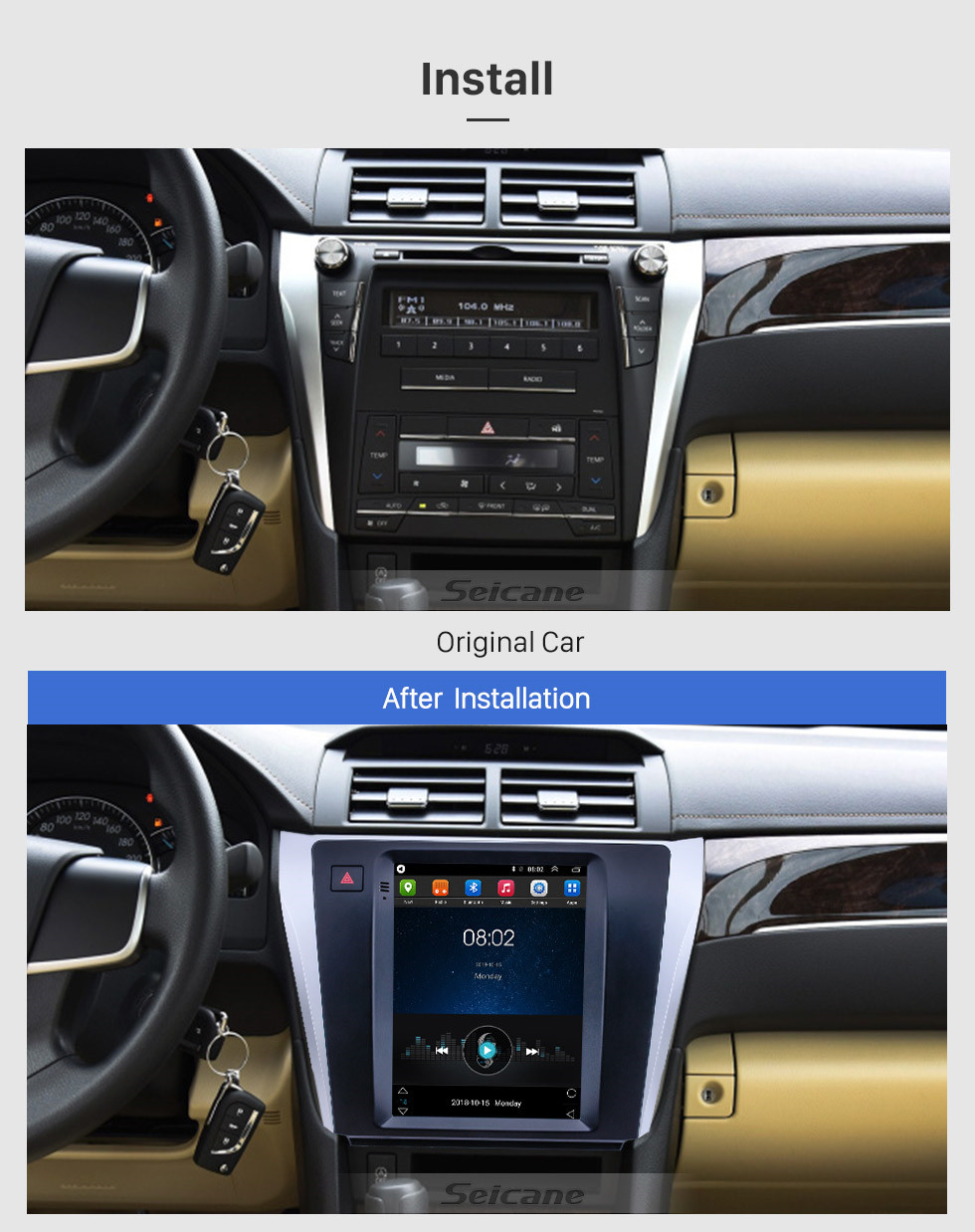 Seicane 9.7 inch Android 9.1 GPS Navigation Radio for 2015-2017 Toyota Camry with HD Touchscreen Bluetooth AUX support Carplay OBD2