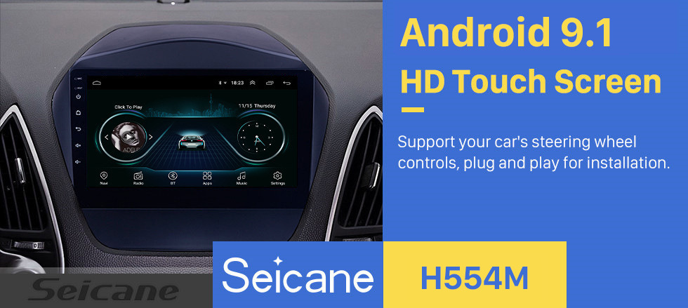 Seicane  Android 9.1 9 Inch Car Radio For 2009 2010 2011 2012 2013 2014 2015 Hyundai IX35 GPS Multimedia Player With Bluetooth WIFI OBD2