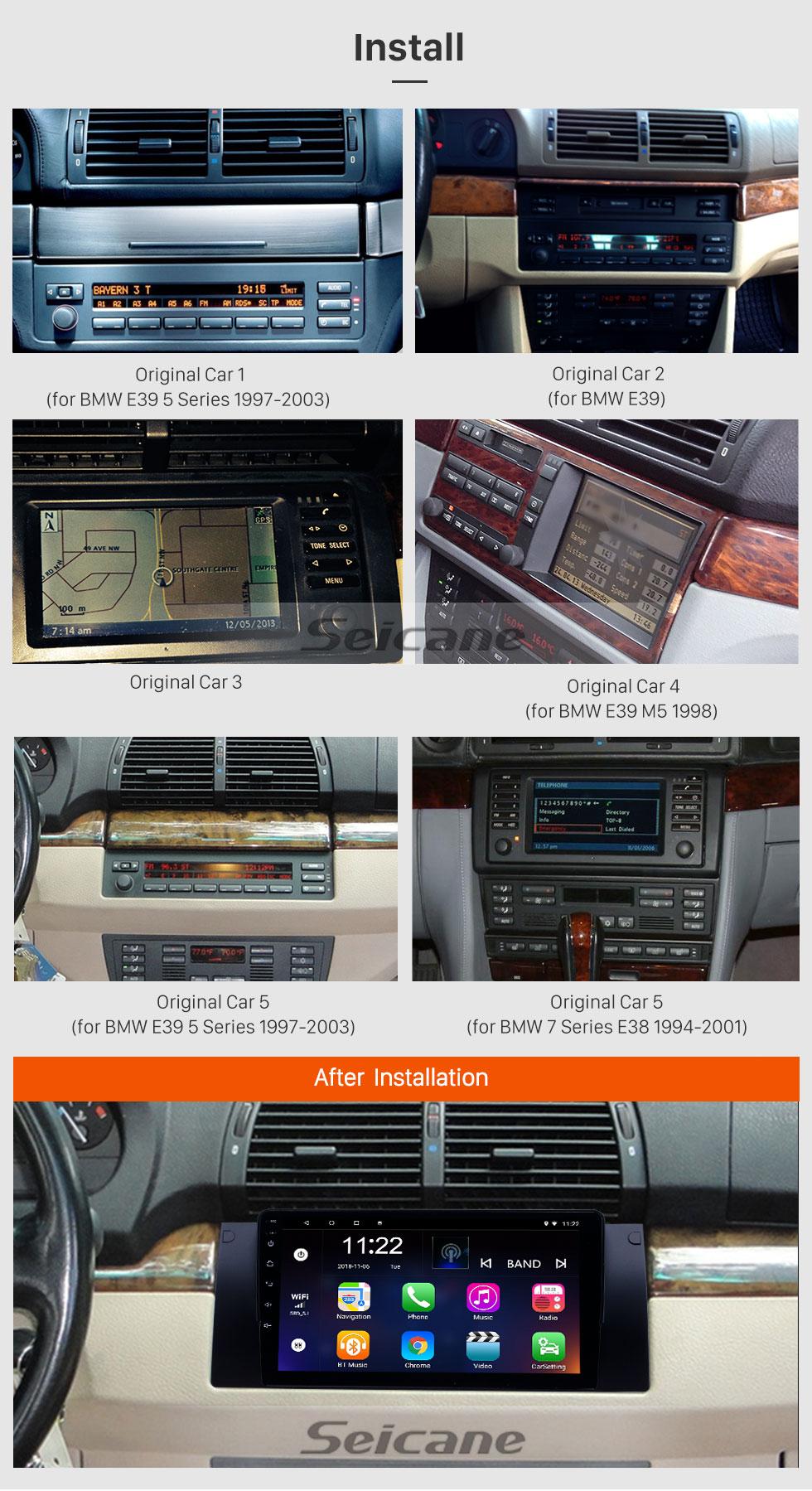 Seicane 1995-2003 BMW Série 5 E39 / X5 E53 Android 8.1 HD Touchscreen 9 polegadas AUX Bluetooth Navegação GPS suporte de rádio SWC Carplay
